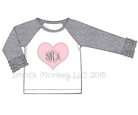 "Girl's applique ""PINK HEART"" white baseball shirt with gray ruffle sleeves (NO MONOGRAM) (24m,2t,3t,4t,6t,7t,8t)"