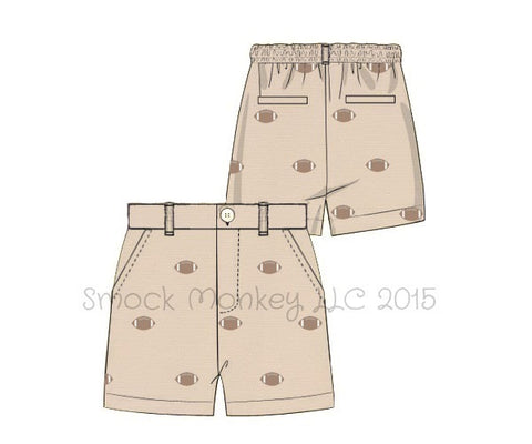 "Boy's embroidered ""FOOTBALLS"" tan cotton pocket shorts (12m,18m,24m,2t,3t,4t,5t,6t,7t,8t,10t)"