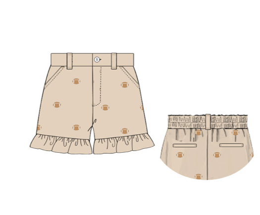 "Girl's embroidered ""FOOTBALLS"" khaki pocket ruffle shorts (12m,18m,2t,3t)"