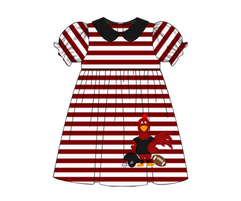 "Girl's applique ""CHICKEN FOOTBALL"" garnet striped knit collar swing dress (24m,3t,4t,5t,6t,7t)"