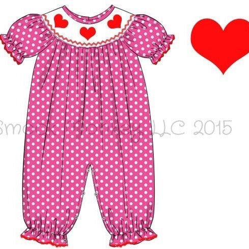 "Girl's smocked ""RED HEARTS"" hot pink polka dot short sleeve bubble romper (9m)"