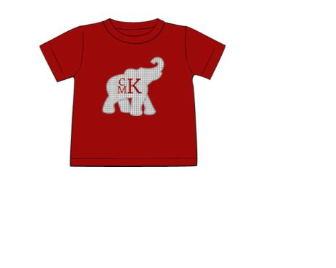 "Boy's applique ""ELEPHANT"" garnet knit short sleeve shirt (NO MONOGRAM) (NB,6m,12m,18m,24m,2t,6t)"