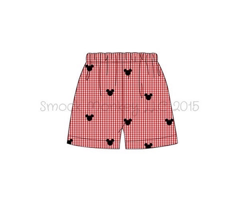 "Boy's embroidered ""BOY MOUSE"" red microgingham shorts (12m,18m,6t)"