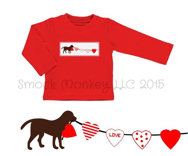 "Boy's smocked ""DOG PULLING HEART STRINGS"" red knit long sleeve shirt (3m,6t,7t)"