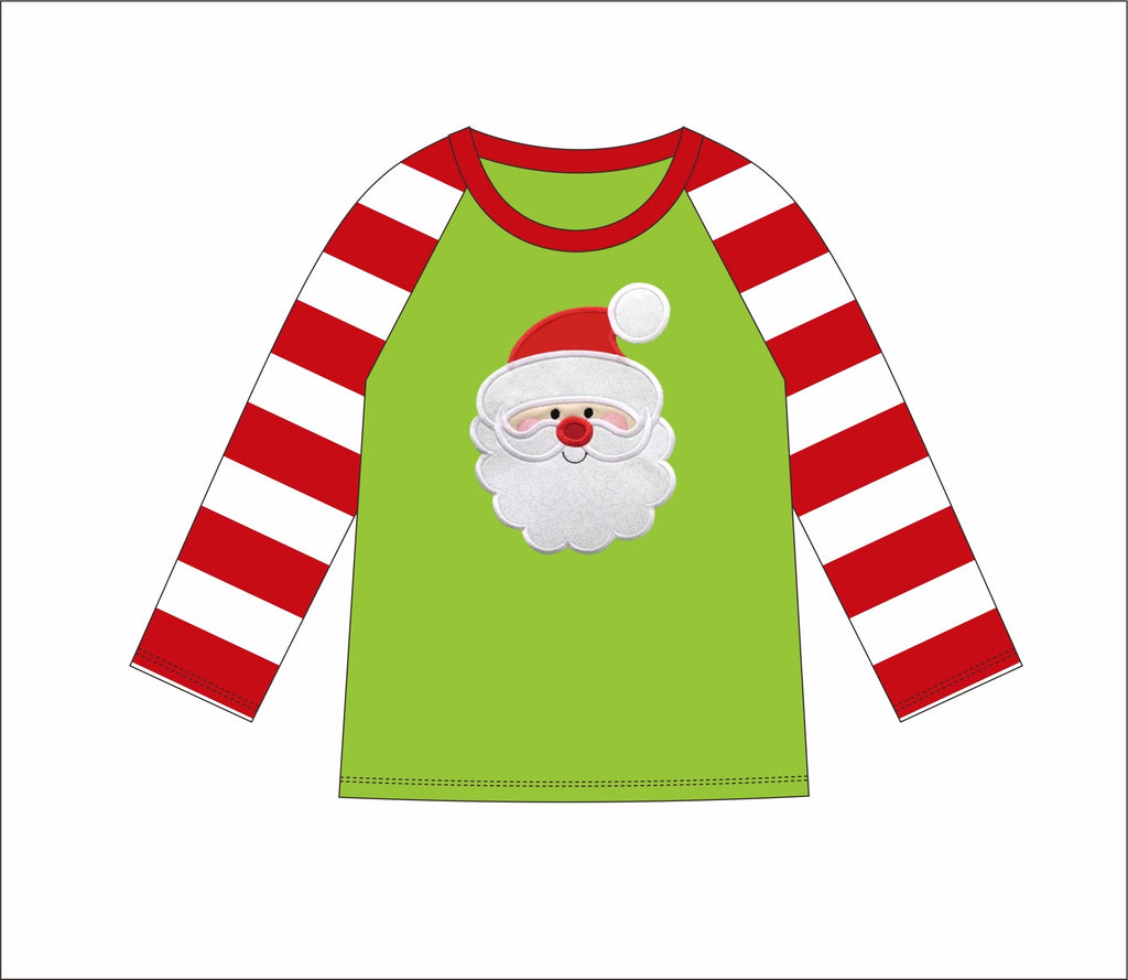 "Boy's applique ""SANTA"" lime and red striped baseball shirt (12m,2t,3t,4t,6t,7t,8t)"
