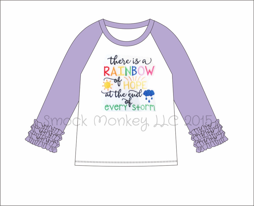 "Girl's applique ""AFTER THE STORM"" white long sleeve with lavender ruffle sleeve baseball shirt (6m,9m,12m,24m,2t,3t,4t,5t,6t,7t,8t)"