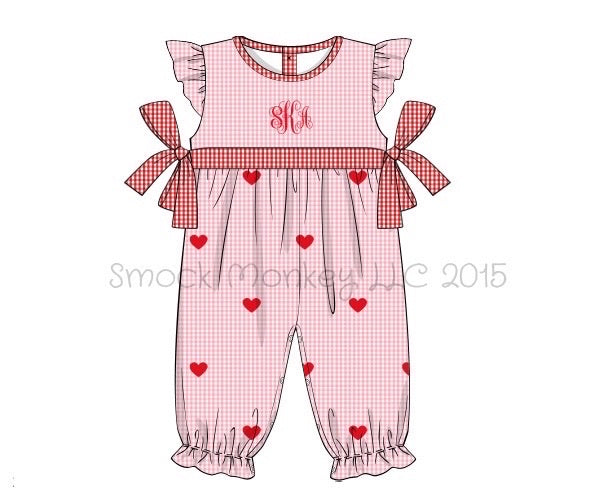 "Girl's embroidered ""HEARTS"" pink gingham angel sleeve long bubble romper (NO MONOGRAM) (3m,12m,18m,5t)"