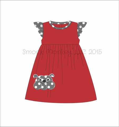 "Girl's applique ""BULLDOG"" red with white polka dot angel wing knit swing dress (6m,12m,18m,24m,2t,3t,4t,5t,6t,8t,10t)"