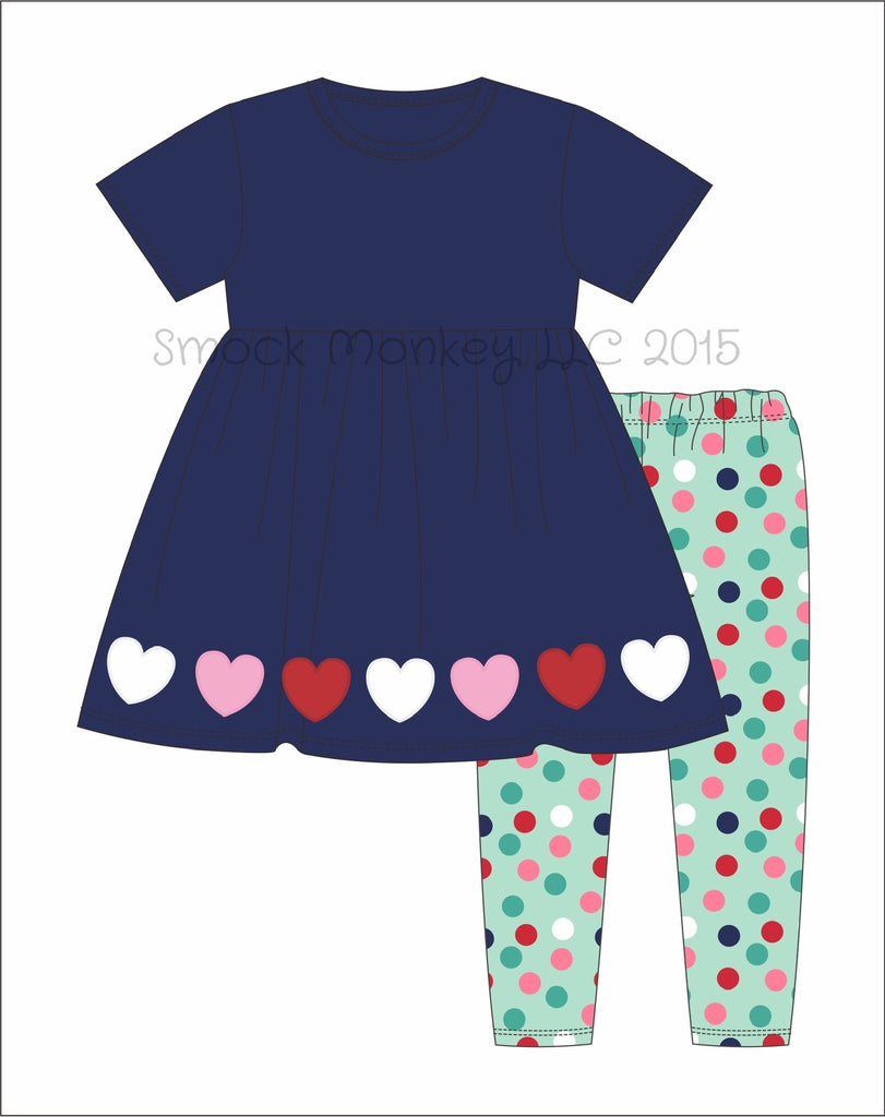 "Girl's applique ""CANDY HEARTS"" navy knit short sleeve swing top and polka dot legging set (3m,6m,18m,24m,2t,7t)"
