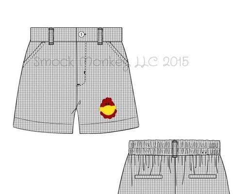 "Boy's embroidered ""CHICKEN"" gray microgingham pocket shorts (4t,5t,6t,10t)"