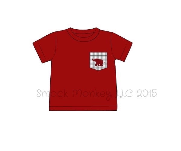 "Boy's garnet short sleeve shirt with pocket embroidered ""ELEPHANT"" (3m,24m,2t,4t,6t,7t,8t)"