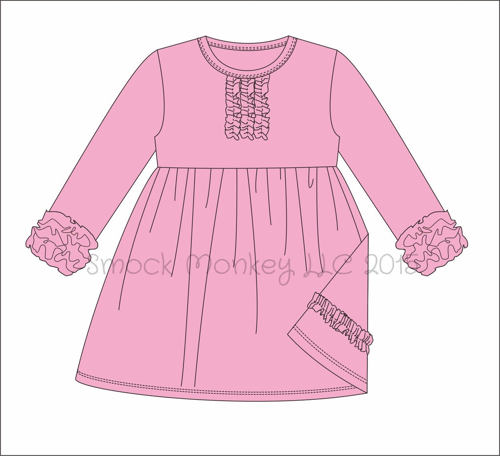 Girl's chest ruffle long sleeve icing knit dress (PINK)(9m,18m,24m,7t,8t)