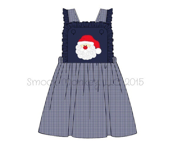 "Girl's applique ""SANTA"" navy and microgingham overall dress (9m,18m,3t,4t,6t,7t)"