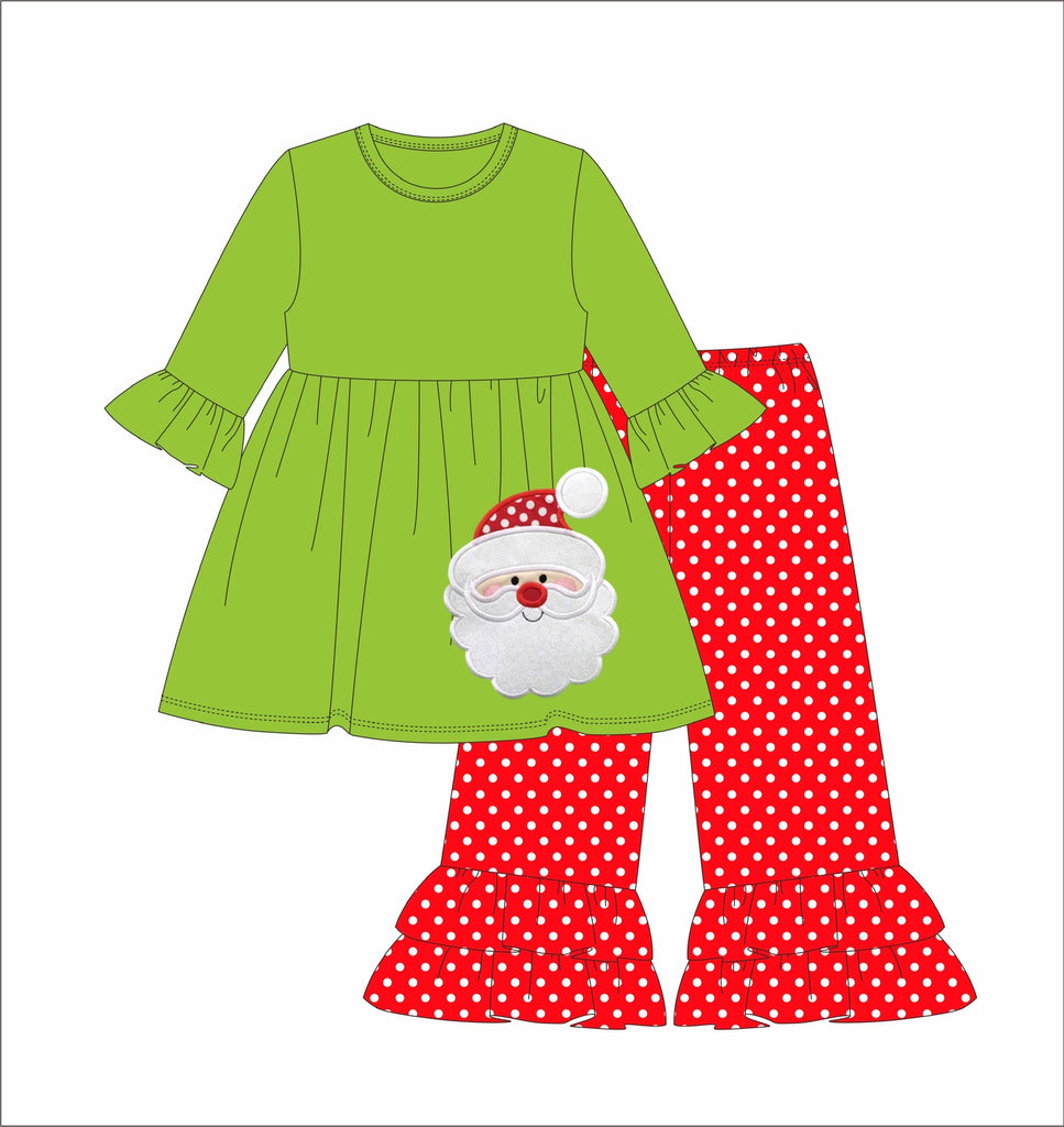 "Girl's applique ""SANTA"" lime green quarter sleeve knit swing top and red polka dot knit ruffle pants (3m,18m,6t)"