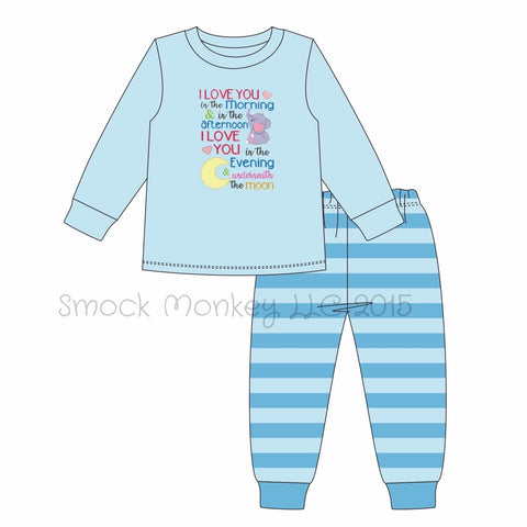"Boy's applique ""I LOVE YOU IN THE MORNING"" blue long sleeve shirt and striped knit pajama set (12m,18m,2t,3t,4t,6t,7t)"