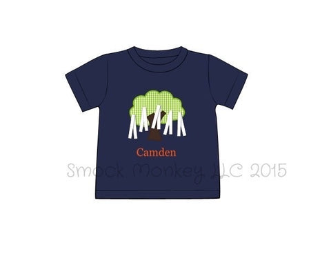 "Boy's applique ""TREE"" navy knit short sleeve shirt (NO MONOGRAM) (NB,3m,7t)"