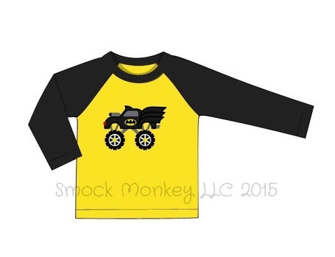 "Boy's applique ""BATMOBILE MONSTER CAR"" yellow and black long sleeve baseball shirt (18m,24m,2t)"