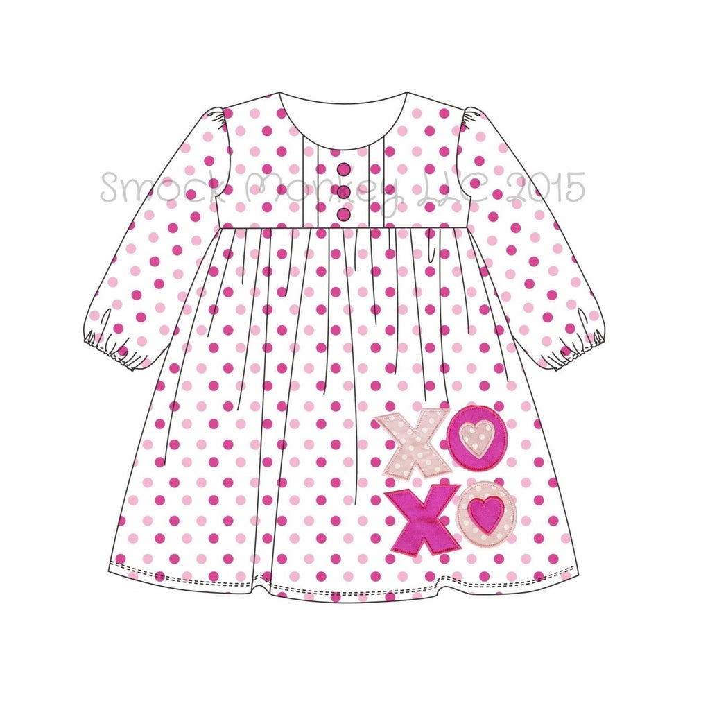"Girl's applique ""XOXO"" hot pink**(see desc) and pink polka dot knit long sleeve button front dress (3m,6m,12m,24m,2t,3t,4t,5t,6t,7t,8t,12t)"
