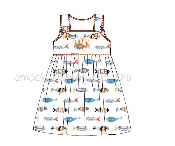 Girl's button tab sleeveless fish print dress (NO MONOGRAM) (18m)