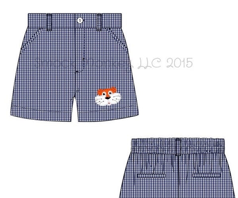 "Boy's embroidered ""TIGER"" navy microgingham pocket shorts (24m,5t,7t,10t)"