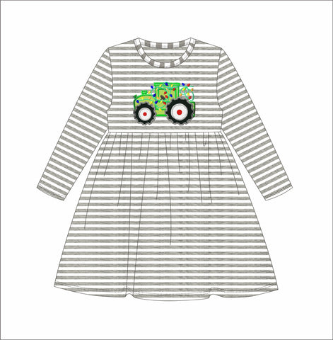 "Girl's applique ""TRACTOR OF LIGHTS"" gray striped knit long sleeve swing dress (9m,2t)"