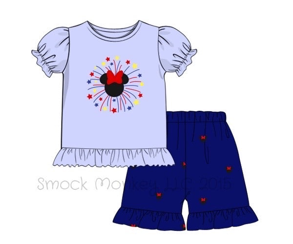 "Girl's applique ""FIREWORKS MOUSE"" blue knit s/s shirt and embroidered ruffle short set (24m,2t,3t,4t,7t)"