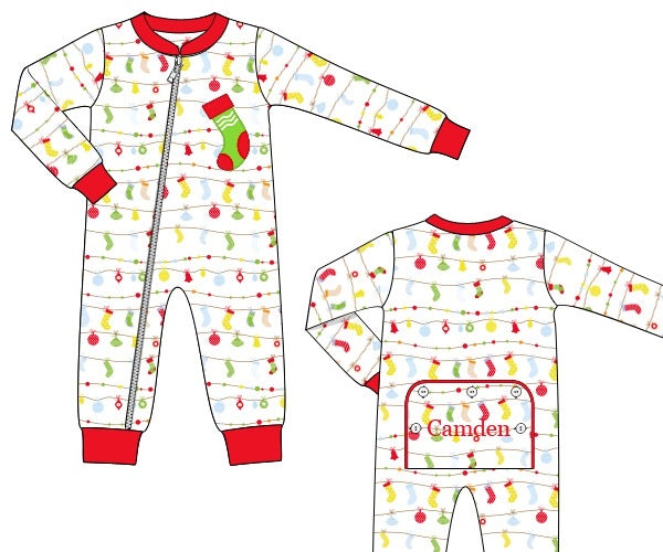 "Boy's applique ""STOCKING"" stocking print one piece flap pajama romper (NO MONOGRAM) (6m,9m)"
