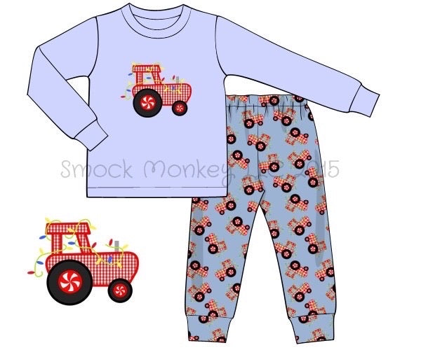 "Boy's applique ""TRACTOR WITH LIGHTS"" light blue knit with tractor print two piece fitted pajama set (3m,24m)"