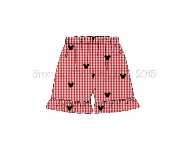 "Girl's embroidered ""BOY MOUSE"" red microgingham ruffle shorts (3m,18m,2t,3t,4t,5t,7t)"
