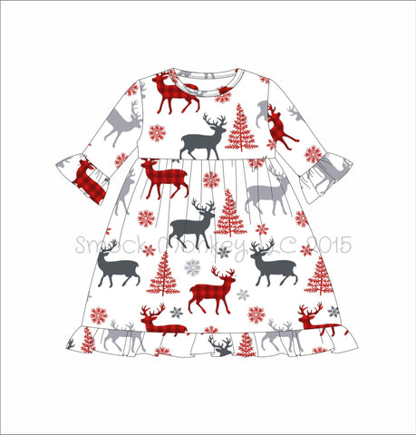 "Girl's ""CHRISTMAS DEER"" print knit 3/4 sleeve ruffle swing dress (12m,18m,24m,4t)"