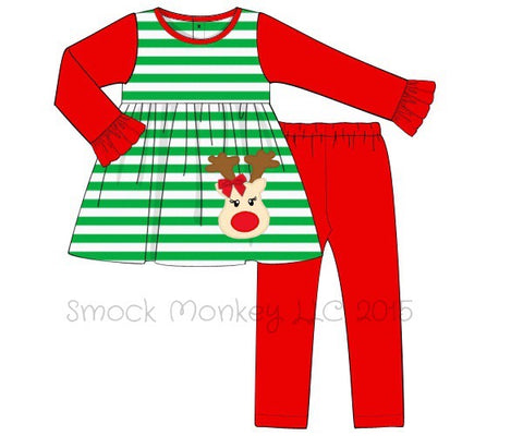 "Girl's applique ""RUDOLPH"" long sleeve green striped with red long sleeves knit top and red leggings set (12m,18m,24m,2t,3t,4t)"