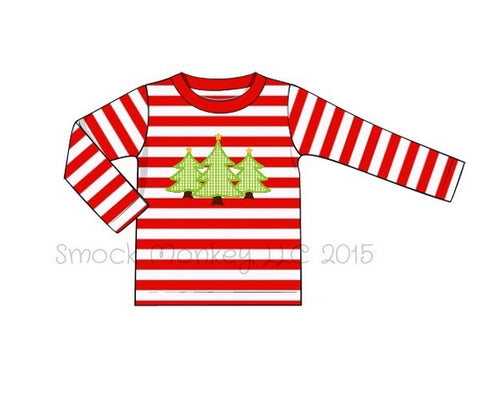 "Boy's applique ""CHRISTMAS TREES"" red striped knit long sleeve shirt (3m,18m,24m)"