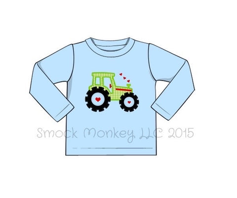 "Boy's applique ""TRACTOR LOVE"" light blue long sleeve shirt (12m,18m,2t,5t,6t)"