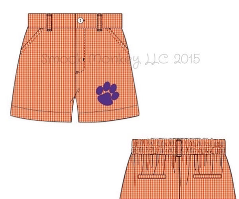 "Boy's embroidered ""PAW"" orange microgingham pocket shorts (24m,2t,3t,5t)"