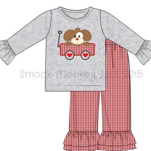 "Girl's applique ""MY PUPPY LOVE"" gray ruffle sleeve shirt and red microgingham ruffle pant set (18m,24m,2t,3t,4t,5t,6t,7t)"