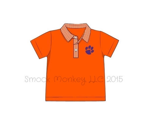 "Boy's embroidered ""PAW"" orange knit with gingham polo shirt (12m,18m,2t,4t,6t,8t)"