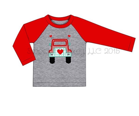 "Boy's applique ""BEEP BEEP JEEP LOVE"" gray baseball shirt with red sleeves (12m,2t,3t,4t,5t,6t)"