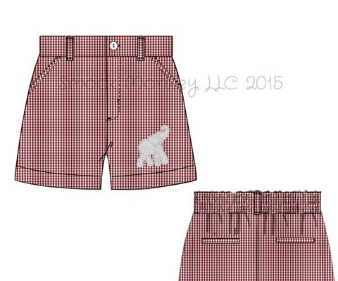 "Boy's embroidered ""ELEPHANT"" garnet microgingham pocket shorts (NB,12m,3t,4t,5t,6t,7t,8t,10t)"