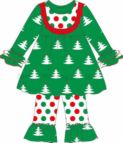 "Girl's ""CHRISTMAS TREE PRINT"" knit swing top and polka dot ruffle pants (9m,12m,18m,24m,5t,6t)"
