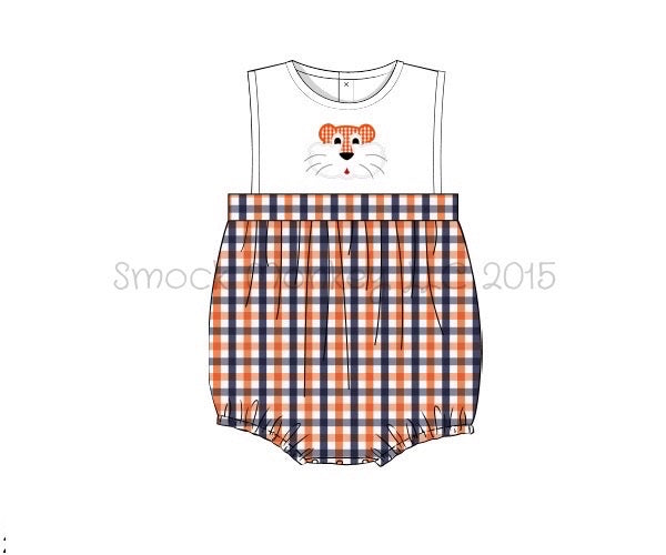 "Boy's applique ""TIGER"" white with orange and navy plaid sleeveless bubble (3m,6m,9m,12m,18m,24m)"