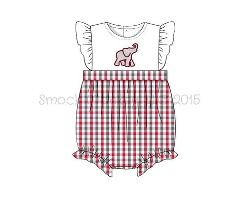 "Girl's applique ""ELEPHANT"" white with garnet and gray plaid angel wing bubble (3m,9m,12m,24m,2t,4t)"