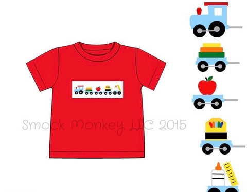 "Boy's smocked ""SCHOOL TRAIN"" red short sleeve knit shirt (18m,2t,6t)"