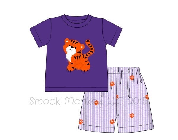 "Boy's applique ""TIGER"" purple knit short sleeve shirt and purple seersucker embroidered shorts (3m,9m,2t,3t,4t,5t,6t)"