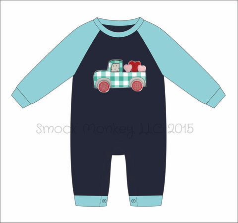 "Boy's applique ""TRUCKLOAD FULL OF LOVE"" navy with aqua knit long sleeve (3m,9m,12m,18m,24m,2t,3t)"