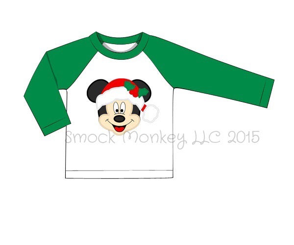"Boy's applique ""SANTA MOUSE"" white with green sleeves baseball shirt (9m,12m,24m,2t,3t,4t,5t,7t)"