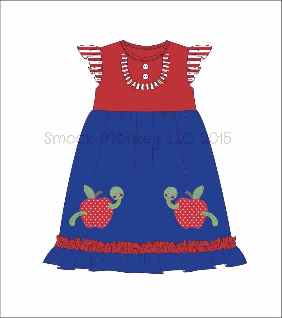 "Girl's applique ""WORMY APPLE"" blue with red angel wing knit swing dress (3t,4t,5t,6t,7t,8t,10t,14t)"
