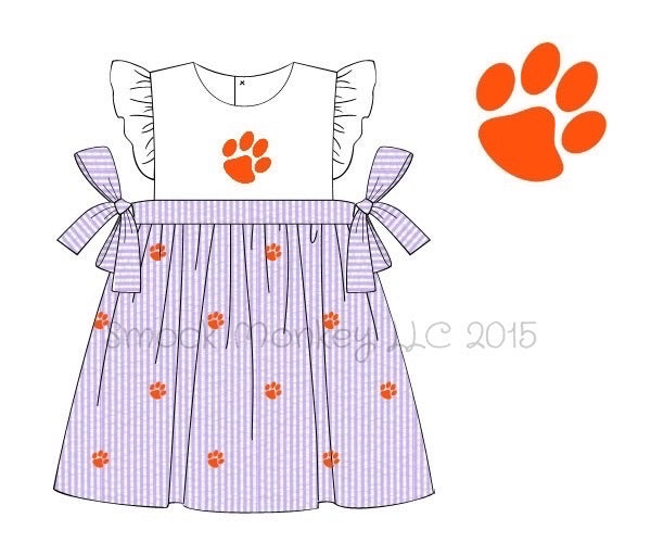 "Girl's applique ""PAW"" white with purple seersucker side tie dress (24m,3t)"