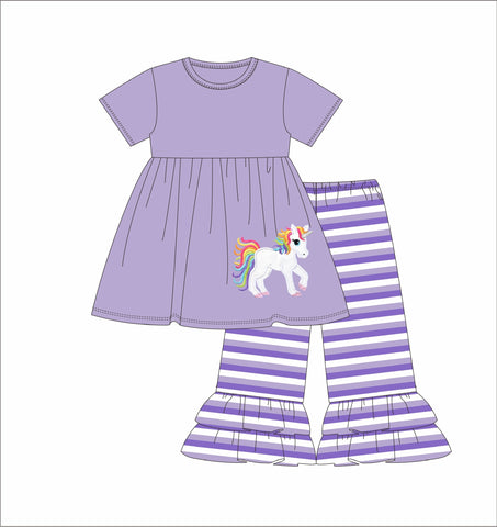 "Girl's applique ""UNICORN"" lavender short sleeve knit swing top and purple striped knit ruffle pants (3m,12m,24m)"