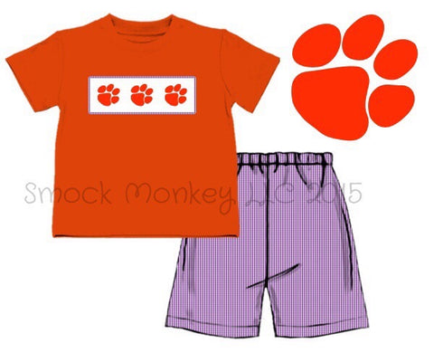 "Boy's smocked ""PAWS"" orange short sleeve knit shirt and purple microgingham short set (6m,18m,24m,3t,6t)"