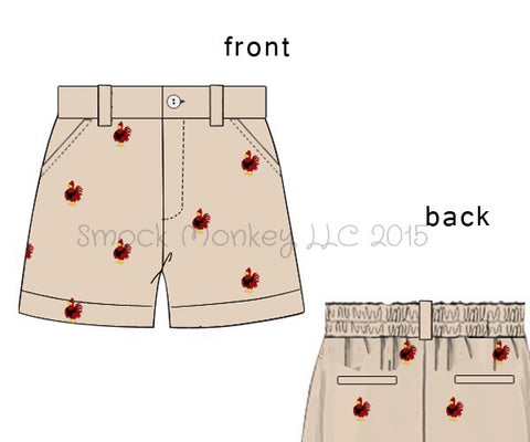 "Boy's embroidered ""CHICKENS"" khaki shorts (3m,9m,18m,24m,2t,3t,4t,5t,6t)"